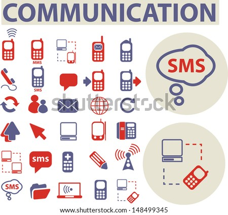 communication icons, signs, buttons set, vector