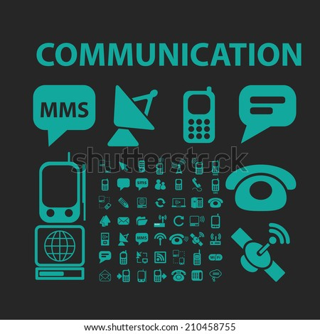 communication icons, signs, symbols, objects, illustrations set. vector - stock vector