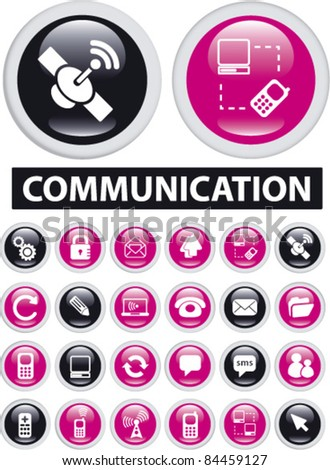 communication icons, signs, vector illustrations set - stock vector
