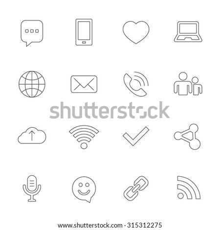 Communication icons. Smartphone, laptop and speech bubble symbols. Wi-fi and Rss. Online love dating, mail and globe thin outline signs. Outline line icons on white background. Vector