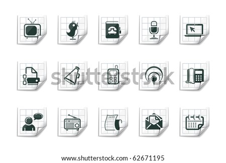 Communication icons | Sticky series - stock vector