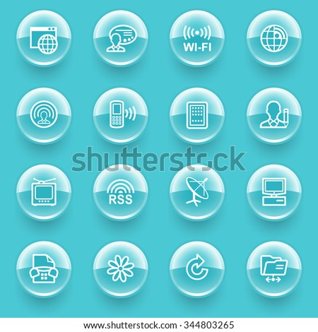 Communication icons with buttons on blue background.