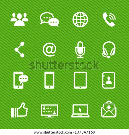 Communication Icons with Green Background - stock vector