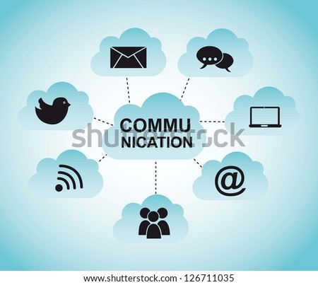 communication illustration with cloud over blue background. vector - stock vector