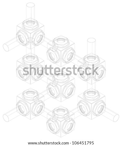 communication in business, abstract scheme, concept,isometric projection, engineering graphics,  impossible illusion - stock vector