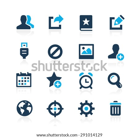Communication Interface Icons // Azure Series - stock vector