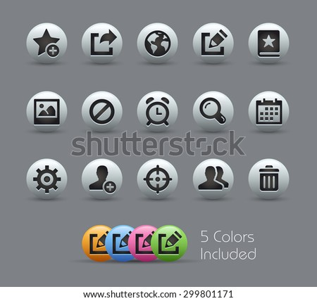 Communication Interface Icons // Pearly Series ----- The Vector file includes 5 color versions for each icon in different layers ----- - stock vector