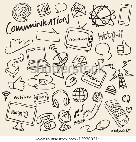Communication & internet doodles vector - stock vector