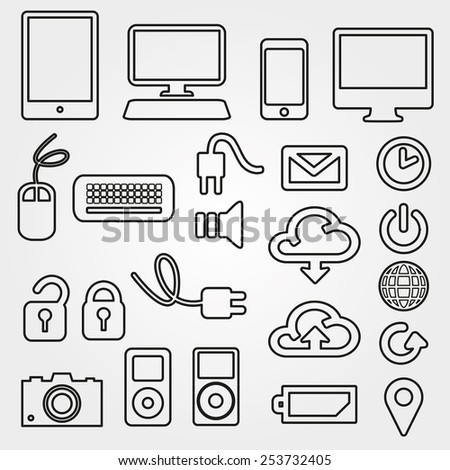 Communication line icons  - stock vector