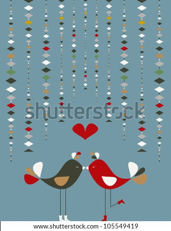 Communication love concept: birds couple fall in love. Vector file layered for easy manipulation and custom coloring. - stock vector
