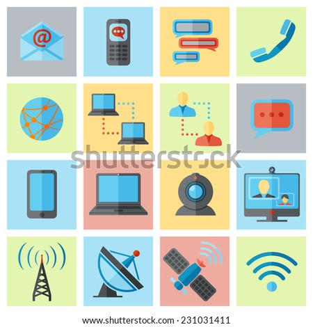Communication media and internet mobile connections icons flat set isolated vector illustration - stock vector