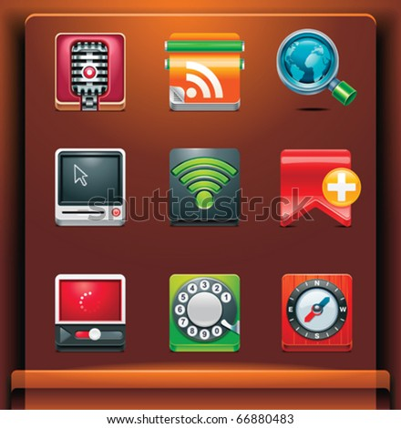 Communication. Mobile devices apps/services icons. Part 3 of 12 - stock vector