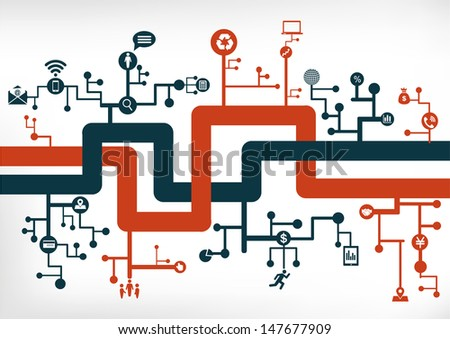 communication network - stock vector