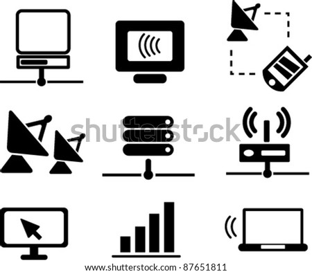 communication & network icons, signs, vector illustrations - stock vector