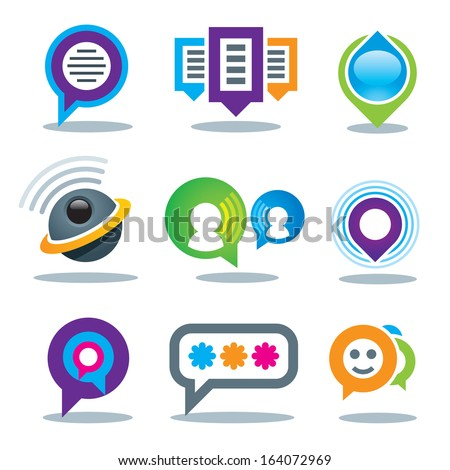 Communication of social people in world community media logo and internet network service icon set - stock vector