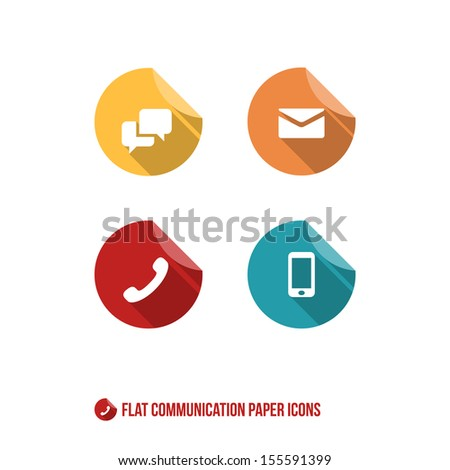Communication Paper Icons - Flat Design - Vector Illustration - Infographic Element - stock vector