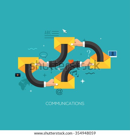 Communication process flat web infographic technology online service application internet business concept vector. Design elements for web and mobile applications, infographics and workflow layout - stock vector
