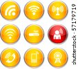 Communication  set of round glossy icons. - stock vector