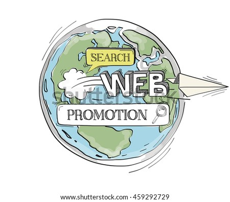 COMMUNICATION SKETCH Promotion TECHNOLOGY SEARCHING CONCEPT - stock vector
