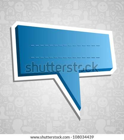 Communication talk bubble over social media icons texture background. Vector file layered for easy manipulation and customisation. - stock vector