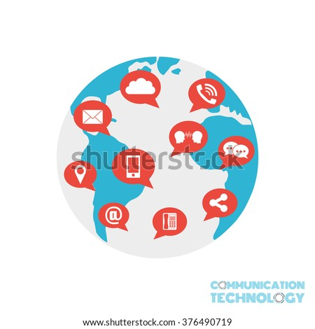 communication technology, connection in the world, isolated on white background - stock vector
