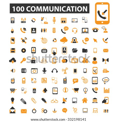 communication, technology, connection, internet, online icon & sign concept vector set for infographics, website