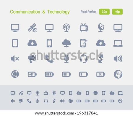 Communication & Technology Icons. Granite Icon Series. Simple glyph stile icons optimized for two sizes. - stock vector