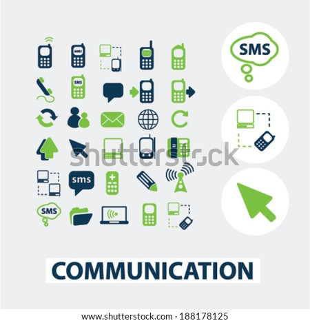 communication, technology icons set, vector - stock vector