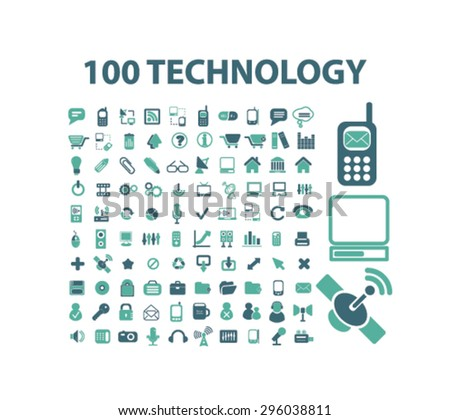communication technology icons set, vector - stock vector