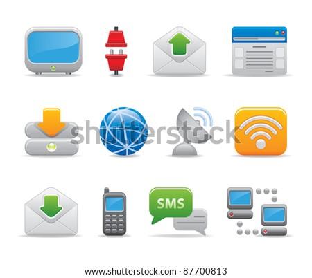 Communication technology internet logos icons set business  - stock vector