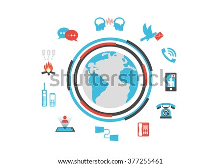 communication technology, past and future, infographic, isolated on white background - stock vector