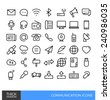 Communication Thick line icons - stock vector