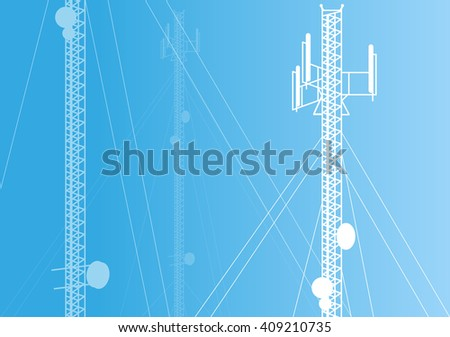Communication transmission tower radio signal phone antenna blue vector background - stock vector