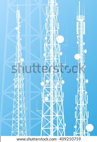 Communication transmission tower radio signal phone antenna blue vector background
