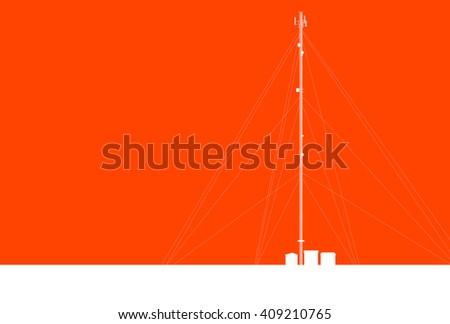 Communication transmission tower radio signal phone antenna orange vector background - stock vector