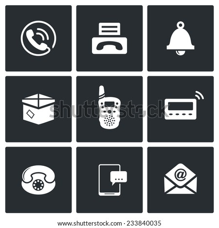 Communication Vector Isolated Flat Icons Set - stock vector