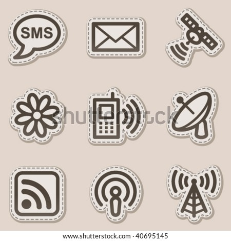 Communication web icons, brown contour sticker series - stock vector
