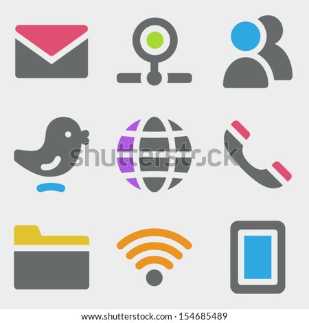 Communication web icons color icons - stock vector