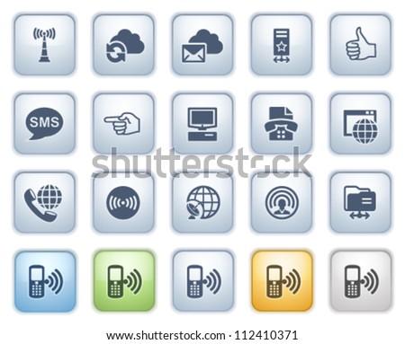 Communication web icons. Color series. - stock vector