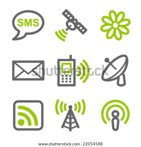 Communication web icons, green and gray contour series - stock vector