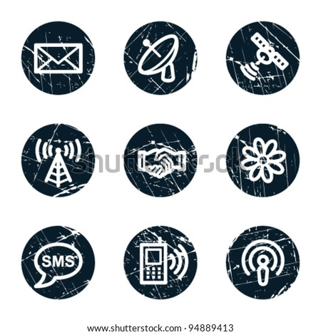 Communication web icons, grunge circle buttons