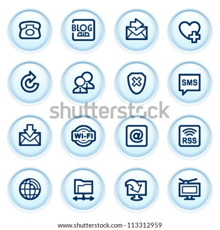 Communication web icons on blue buttons. - stock vector