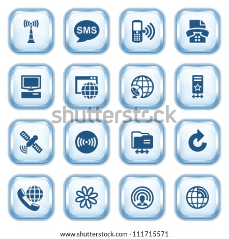 Communication web icons on glossy buttons. Set 2. - stock vector