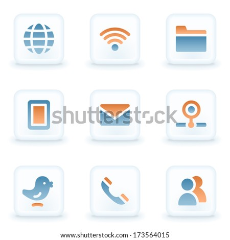 Communication web icons, white glossy buttons