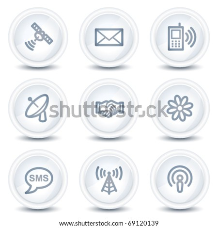 Communication web icons, white glossy circle buttons - stock vector