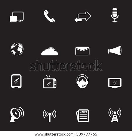 Communication white Icons Vector files