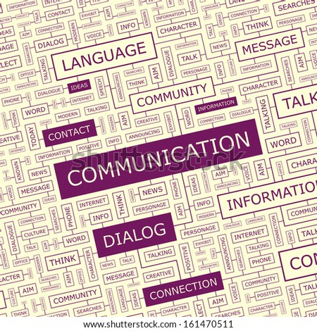 COMMUNICATION. Word cloud illustration. Tag cloud concept collage. Vector illustration. - stock vector