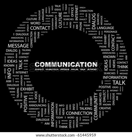 COMMUNICATION. Word collage on black background. Illustration with different association terms. - stock vector