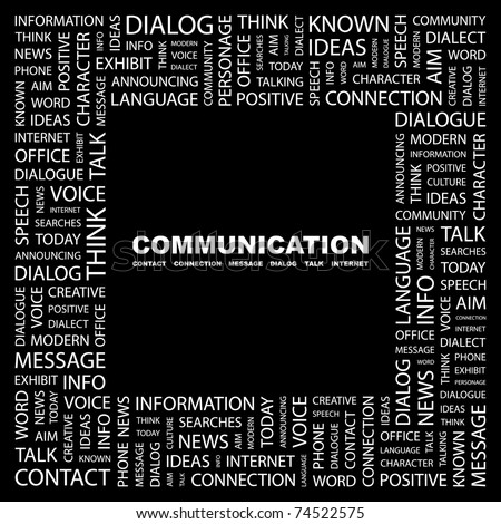 COMMUNICATION. Word collage on black background. Vector illustration. Illustration with different association terms. - stock vector
