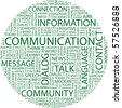 COMMUNICATION. Word collage on white background. Illustration with different association terms. - stock photo